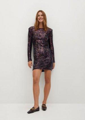 Короткое платье с пайетками - Lenjuela Mango. Цвет: медь