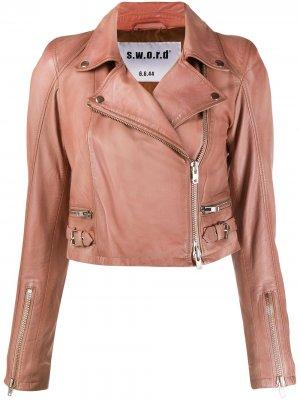 Укороченная куртка с косой молнией S.W.O.R.D 6.6.44. Цвет: розовый