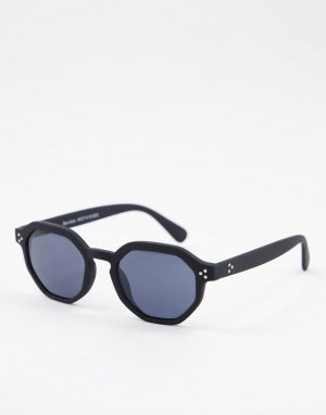 Солнцезащитные очки в шестиугольной оправе черного цвета -Черный цвет Bershka