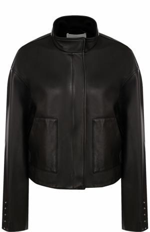 Кожаная куртка свободного кроя с воротником-стойкой 3.1 Phillip Lim. Цвет: черный