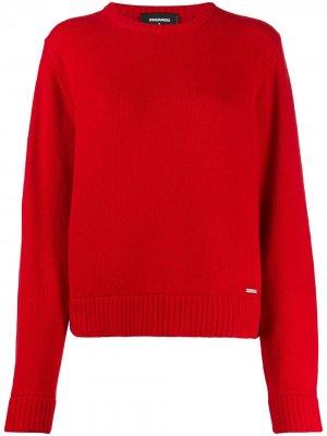 Трикотажный пуловер в рубчик Dsquared2. Цвет: красный