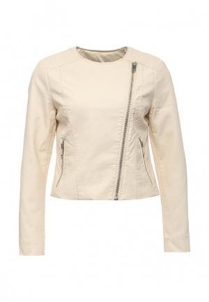 Куртка кожаная Silvian Heach. Цвет: бежевый