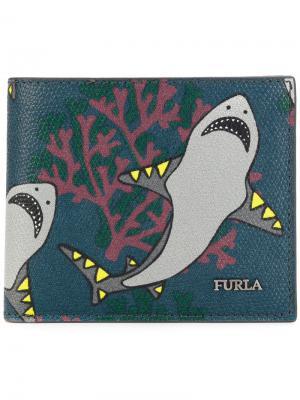 Бумажник с принтом акул Furla. Цвет: серый