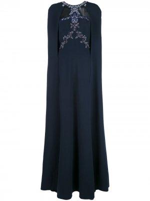 Вечернее платье с кейпом и вышивкой бисером Marchesa Notte