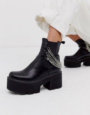 Черные ботинки челси на массивной подошве с цепочкой -Черный Lamoda