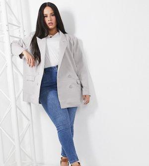 Серый пиджак свободного кроя в винтажном стиле Heartbreak Plus