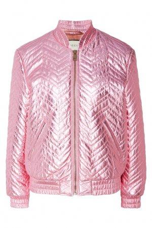 Розовый стеганый бомбер Gucci. Цвет: розовый