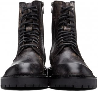 SSENSE Exclusive Black Distressed Tucson Lace-Up Boots Ann Demeulemeester. Цвет: 001 nero