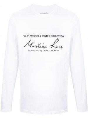 Logo-print long-sleeve T-shirt Martine Rose. Цвет: белый