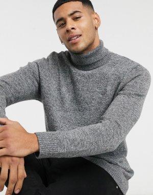 Серый меланжевый джемпер с отворачивающимся воротником и логотипом Hollister