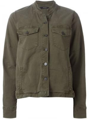 Джинсовая куртка с воротником-стойкой J Brand. Цвет: зелёный