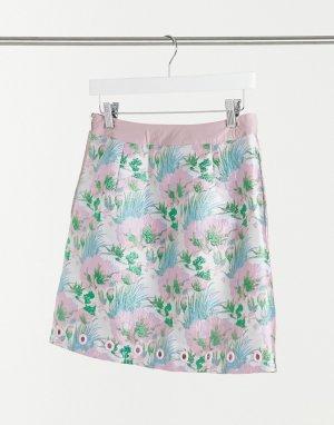Мини-юбка из жаккарда с цветочным принтом -Многоцветный Elvi
