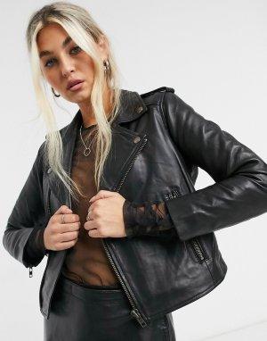 Черная кожаная байкерская куртка укороченного кроя -Черный Muubaa
