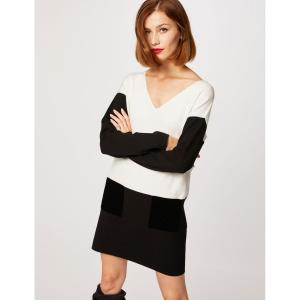 Платье-пуловер с v-образным вырезом и длинными рукавами MORGAN. Цвет: черный
