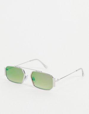 Прямоугольные солнцезащитные очки с разноцветными стеклами в серебристой оправе -Серебристый Jeepers Peepers