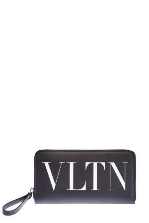 Бумажник из телячьей кожи с принтом VLTN VALENTINO GARAVANI. Цвет: черный