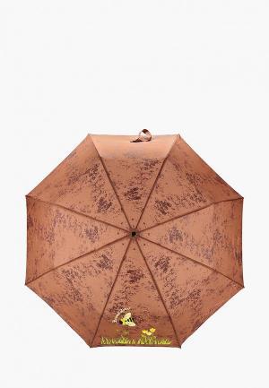Зонт складной Braccialini. Цвет: коричневый