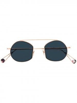 Солнцезащитные очки-авиаторы в круглой оправе Ahlem. Цвет: золотистый