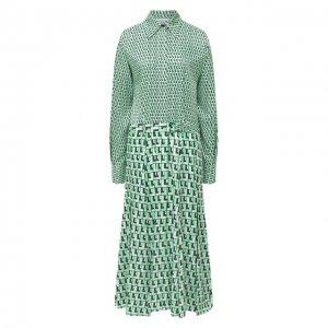 Платье с поясом Lacoste. Цвет: зелёный