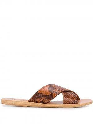Сандалии Thais с тиснением под кожу питона Ancient Greek Sandals. Цвет: коричневый