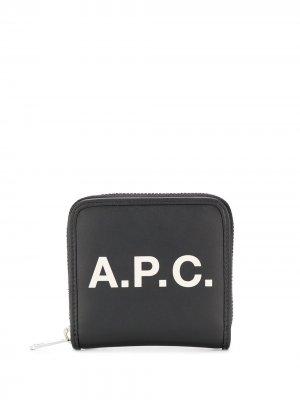 Кошелек с логотипом A.P.C.. Цвет: черный