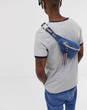 Джинсовая сумка-кошелек на пояс с фирменной лентой -Синий Tommy Jeans