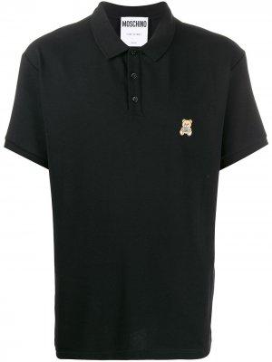 Рубашка-поло с вышивкой Teddy Bear Moschino. Цвет: черный