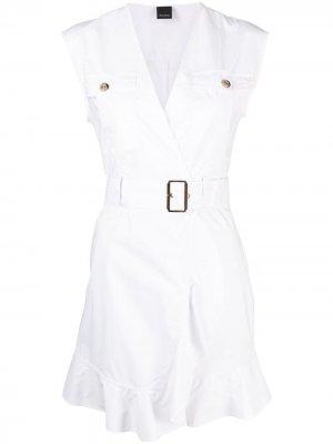 Платье с поясом Pinko. Цвет: белый
