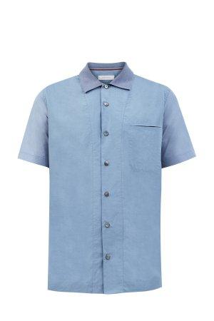 Рубашка из двух видов ткани с трикотажным воротом в стиле поло CORTIGIANI. Цвет: голубой
