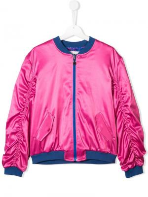 Куртка-бомбер с оборками на рукавах Alberta Ferretti Kids