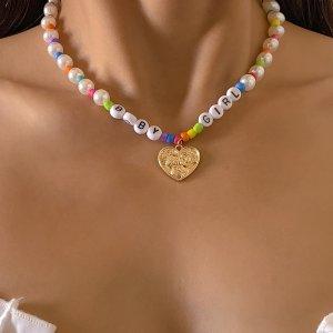 Ожерелье с сердечком SHEIN. Цвет: многоцветный