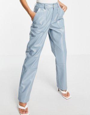 Голубые брюки-галифе из искусственной кожи Unique21-Голубой UNIQUE21