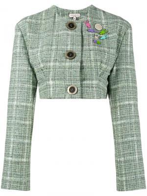 Укороченный твидовый пиджак Natasha Zinko. Цвет: зеленый