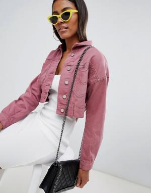 Укороченная джинсовая куртка Missguided. Цвет: розовый