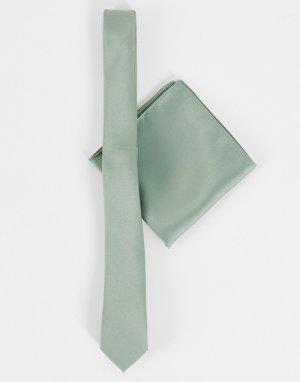 Шалфейно-зеленый атласный галстук и платок для пиджака -Зеленый цвет ASOS DESIGN