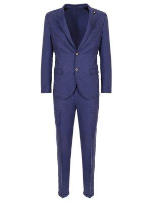 Льняной костюм ROBERTO P. Цвет: синий