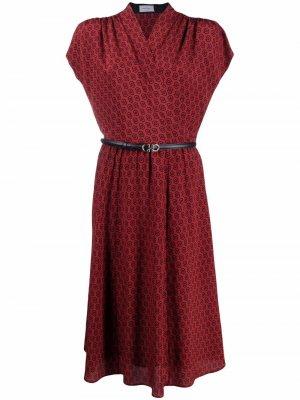 Расклешенное платье с принтом Gancini Salvatore Ferragamo. Цвет: красный