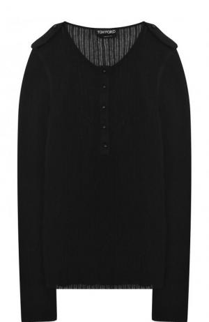 Пуловер фактурной вязки из смеси кашемира и шелка Tom Ford. Цвет: черный