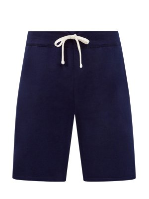 Удлиненные шорты из мягкого футера с поясом на кулиске POLO RALPH LAUREN. Цвет: синий