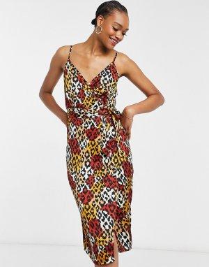 Оранжевое платье-комбинация мидакси с леопардовым узором -Многоцветный Little Mistress