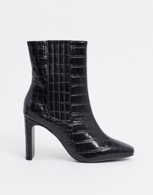 Черные ботильоны с крокодиловым рисунком ASOS DESIGN-Черный