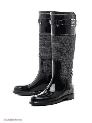 Резиновые сапоги Lady Lita. Цвет: черный, серый