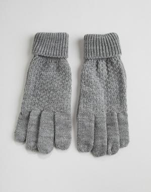 Серые вязаные перчатки с узором косичка Finley-Серый Boardmans