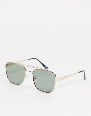 Солнцезащитные очки-авиаторы в стиле 70-х золотистой оправе с надбровной планкой на переносице и стеклами ретро -Золотистый ASOS DESIGN
