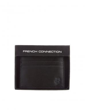 Кожаная визитница French Connection. Цвет: черный