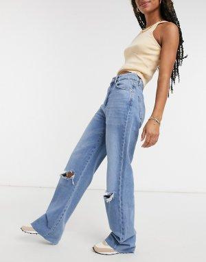 Синие прямые джинсы с рваной отделкой в стиле 90-х -Голубой Stradivarius