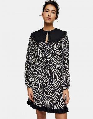 Монохромное чайное платье миди с принтом «зебра» и большим воротником -Черный цвет Topshop