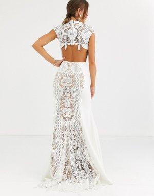 Кружевное платье -Белый Jovani