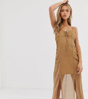 Платье-комбинация миди с завязкой спереди, присборенной отделкой и блестками -Желтый ebonie n ivory