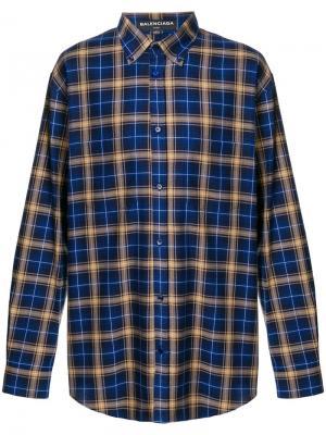 Клетчатая рубашка в стиле оверсайз Balenciaga. Цвет: синий